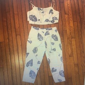 Two piece floral romper style top and bottom set